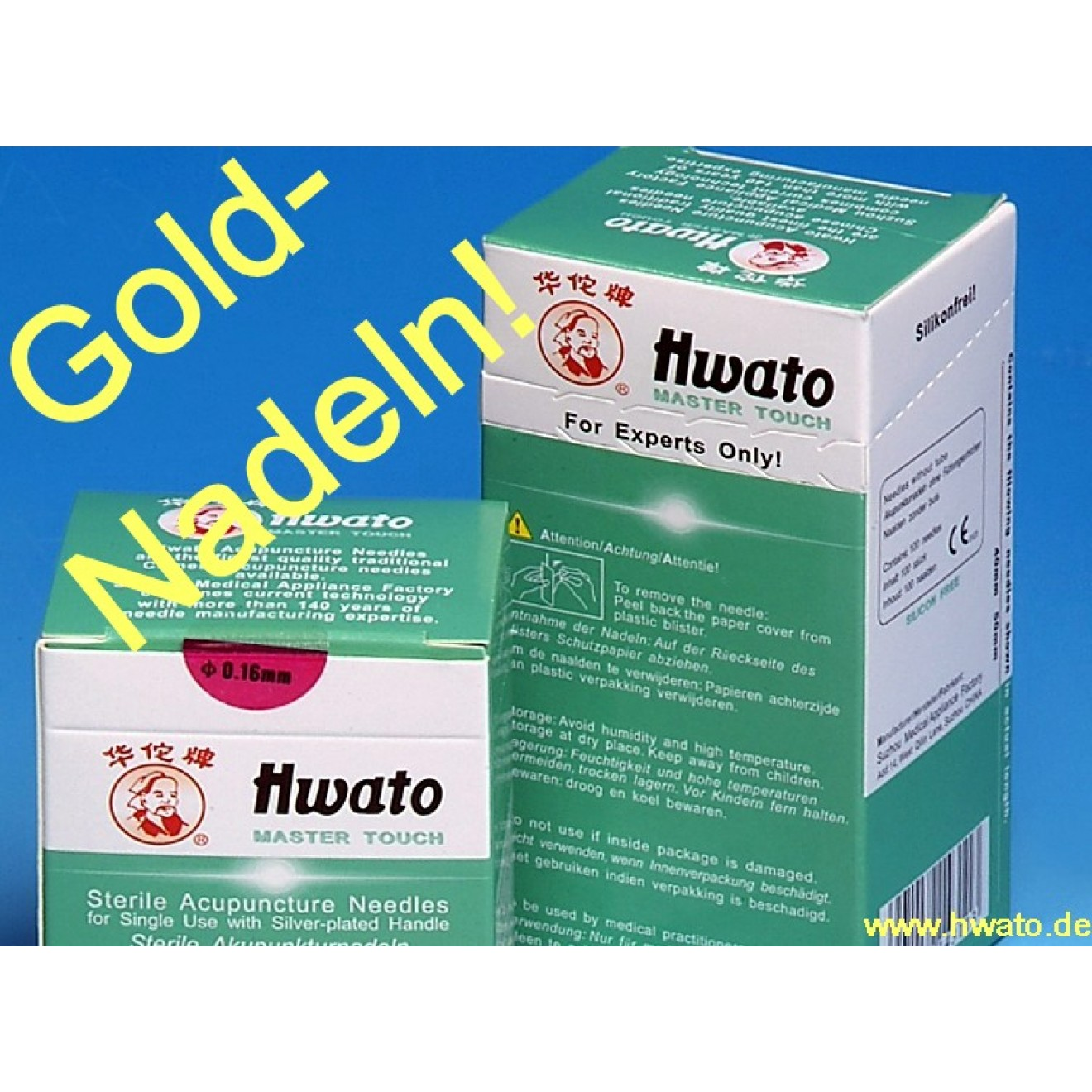 Gold-Akupunkturnadeln 0,22 x 13 mm - 100 St. Packung - Hwato Master Touch